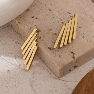 Gold Stacked stud earring